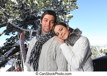 Couple on a skiing holiday