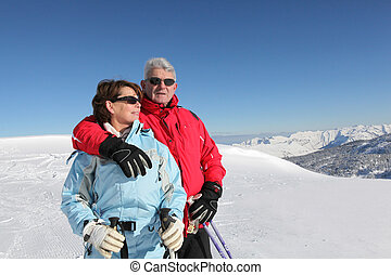Couple on a skiing trip