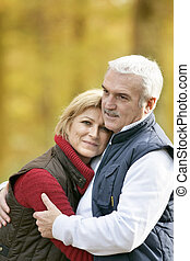 Couple on an autumn walk