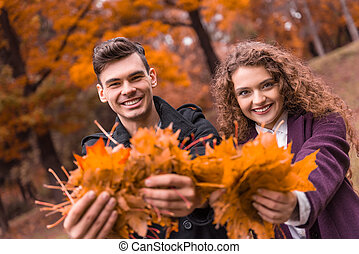 Couple on autumn walk