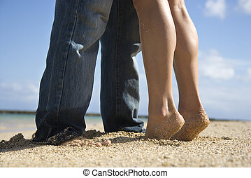 Couple on beach.