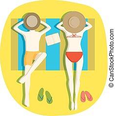 Couple on beach vector illustration.