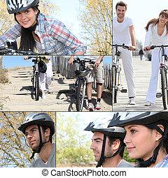 Couple on bike ride