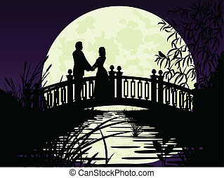 Couple on bridge - Night silhouette of the bridge, people,...
