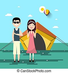 Couple on Camping Trip with Tent and Landscape on Background. Sunny Day in Park Vector Cartoon.