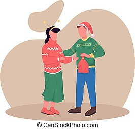 Couple on Christmas eve flat color vector faceless characters