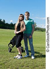 Couple on golf field