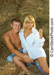 couple on hayloft