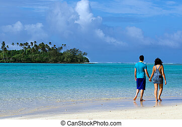 RAROTONGA - SEP 17:Couple on Honeymoon walks on Muri lagoon on Sep 17 2013.Cooks Islands are major travel destination for couples from NZ and Australia that married on the beach of a Pacific island.