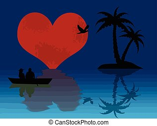 couple on moonlight. Happy Valentines day congratulation love night journey card with big shine moon and heart boat on the water lake, shadows shilouette. Love is in the air quote Vector illustration