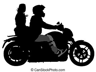 Silhouettes of big motorcycl and people