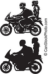 couple on motorcycle - woman and man ride a motorbike