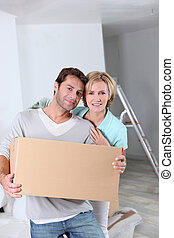 Couple on moving day