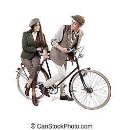 Couple on retro bike