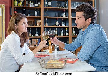 couple on romantic wine date