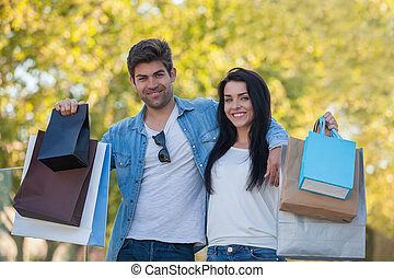 couple on shopping trip for gifts