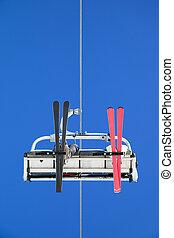 ski lift - couple on ski lift. Low angle view