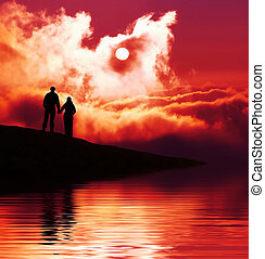 Couple on sunset