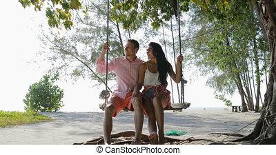 Couple On Swing Communication Talking, Guy Point Finger, Man...