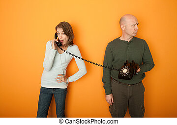 Couple on Telephone Call