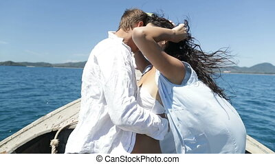Couple On Thailand Boat Embracing, Happy Romantic Man And...