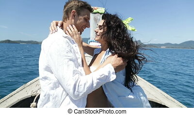 Couple On Thailand Boat Embracing Kiss, Happy Romantic Man...
