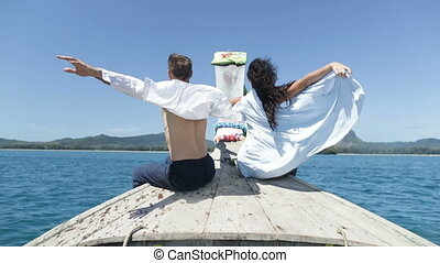 Couple On Thailand Boat Nose Back Rear View, Happy Romantic...