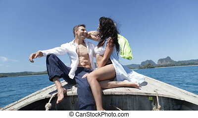 Couple On Thailand Boat Nose Talk, Happy Romantic Man And...