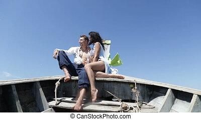 Couple On Thailand Boat Talk Embracing, Happy Romantic Man...