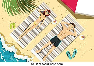 A vector illustration of a couple sunbathing on the beach