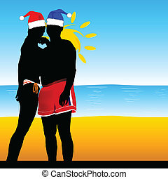 couple on the beach with a new year
