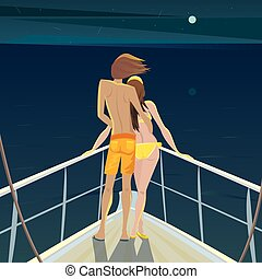 Couple on the boat at night admiring the stars