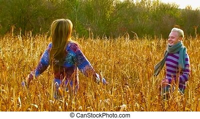 Couple On The Field Of Millet - Boy and girl happily met on...