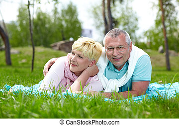 Couple on the lawn