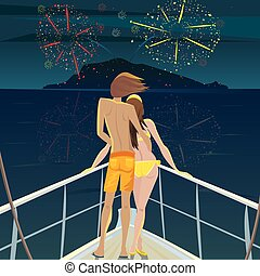Couple on the ship admiring the fireworks over the island