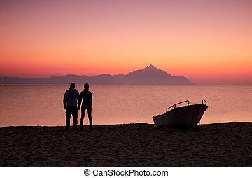 Couple on the sunset