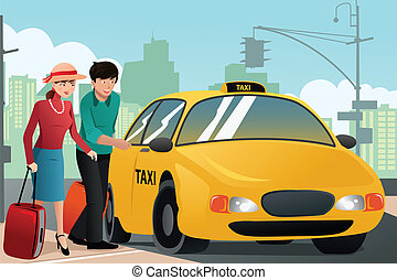 Couple on vacation calling a taxi - A vector illustration of...