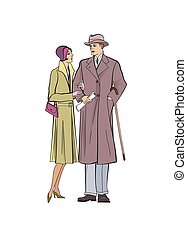 Couple outdoor. Man and woman in outerwear dress in vintage style 1920's.