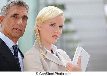 couple, ouvriers, bureau