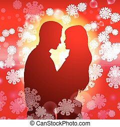 Couple over christmas background with snowflakes