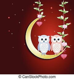 Couple Owl and moon and roses ivy on red background, paper art, paper cut style