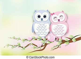 Couple Owl and roses ivy paper art, paper cut style