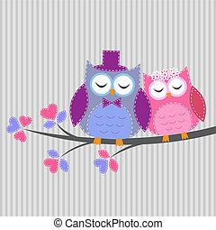 Couple owls in love. Vector card in handiwork style