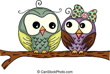 Couple owls on branch