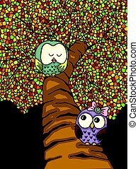 Couple owls on colorful tree
