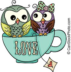 Couple owls on top of love tea cup - Scalable vectorial...