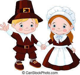 couple, pèlerin, jour, thanksgiving