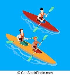 Couple Paddling in Kayak. Kayak Isolated Isometric