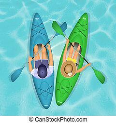 couple paddling in kayak