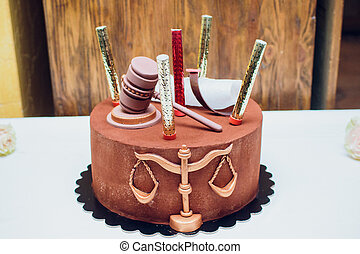 couple, palefrenier, légal, topper, gâteau, marteau